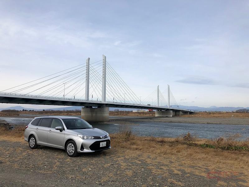 坂東大橋とトヨタ・カローラフィールダー