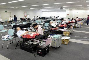 団体献血の様子