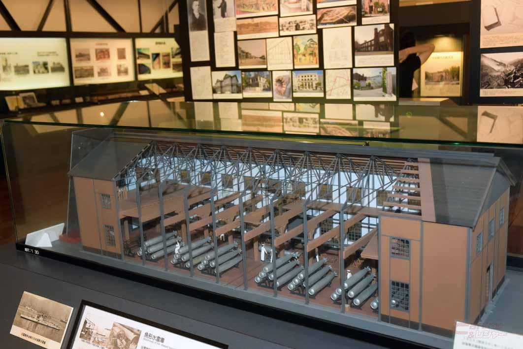 魚雷の倉庫だった1号棟を模型で再現