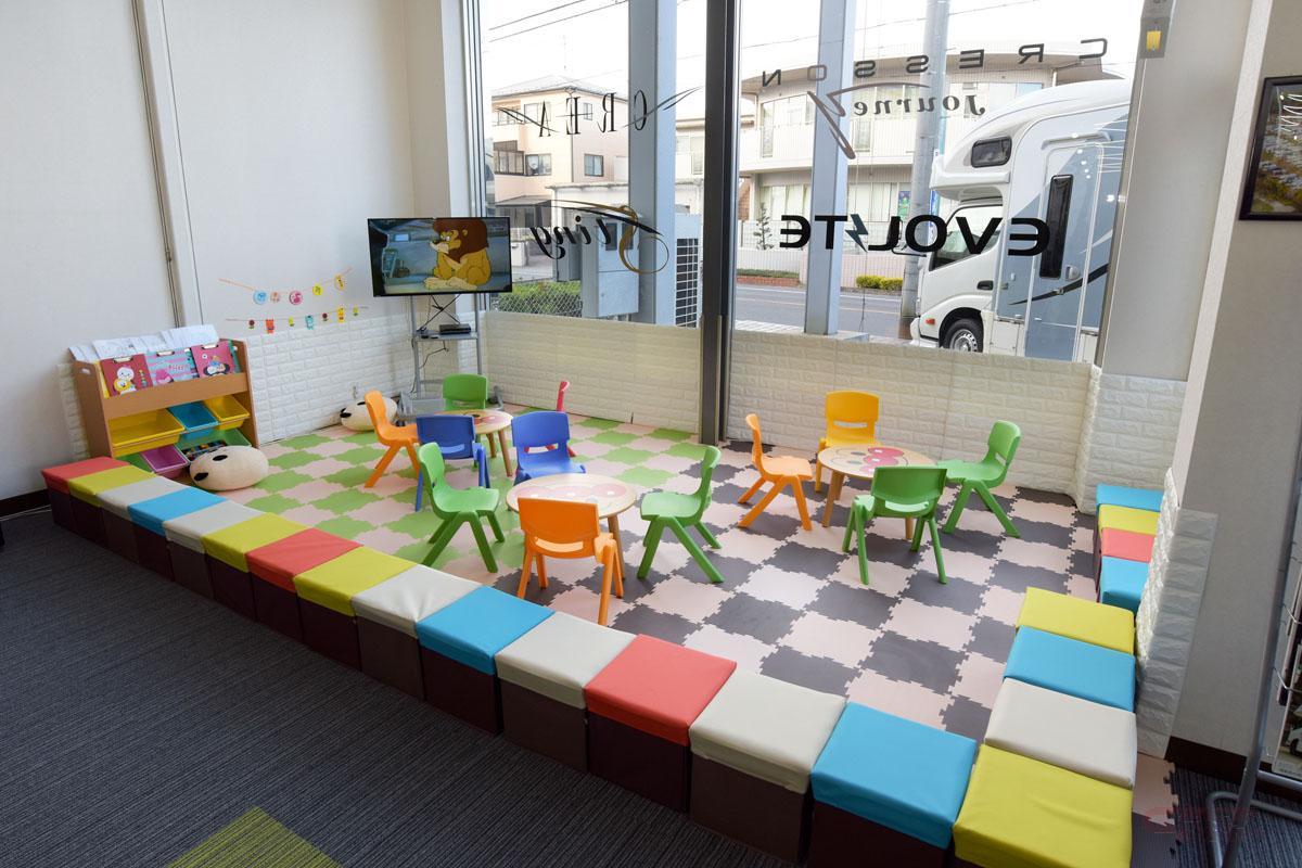 ナッツRV名古屋一宮店ショールームに設けられたキッズコーナー