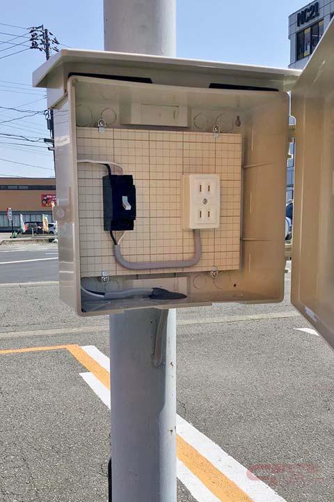 RVパークに設置されている外部充電コネクター